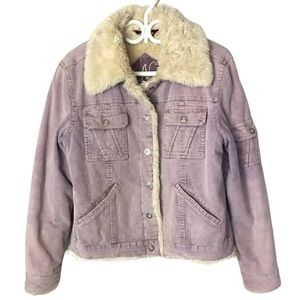 NEVADA Lilac Corduroy Faux Fur Lined Jacket L